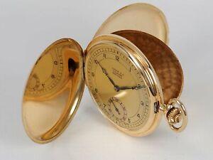 UNION S.A. SOLEURE PRECISION Savonette Taschenuhr 14k 585 Gold