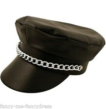 Mens Ladies Black Leather Look Biker YMCA Fancy Dress Costume Outfit Hat