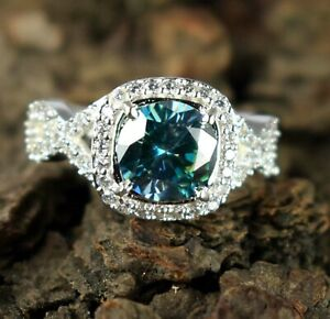 AAA Quality 5.18 Ct Blue Diamond Solitaire 925 Silver Halo Ring-Excellent Luster