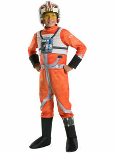NEW DISNEY STAR WARS SIZE L 12-14 WING FIGHTER PILOT BOYS COSTUME DELUXE
