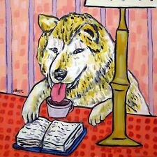 library art akita dog print on modern ceramic Tile coaster gift Jschmetz
