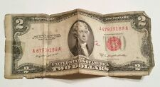 Vintage 1953 B Two Dollar Bill $2 Red Seal United States Currency Note Jefferson