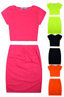 Girls Neon Crop Top And Skirt Outfit New Kids Summer Suit Plain Set Ages 5-13 Yr
