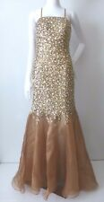 SHAIL K. Antique Gold Sequins and Beads Long Dress Size 8 US 4  rrp AU $690