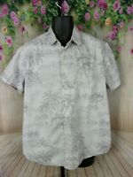 Mossimo Mens Shirt Size XL Beige Tropical Hibiscus Flowers Hawaiian C506