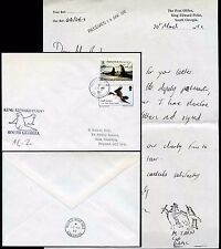 ANTARCTIC SOUTH GEORGIA POST OFFICE LETTER 1992 PENGUIN HANDSTAMP MEDICAL OFFICE