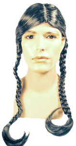NATIVE AMERICAN INDIAN HIPPIE WILLIE BROWN BRAIDS LACEY WIG COSTUME LW173BN
