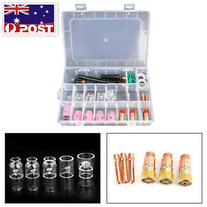 31Pcs TIG Welding Torch Stubby Gas Lens Pyrex Glass Cup Kit Fits for WP-17/26 AU