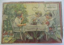 Vintage MILTON BRADLEY PUZZLE, Children's Christmas Tea Party w/ Doll, Tree,Toys