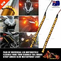 LED Turn Signals Lights Indicator Strips For Fork Fit Ducati Harley Honda KTM