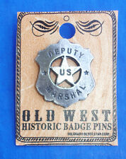 Western Decorament Antiqued Silver Deputy Marshal Hat Pin/Tie Tack/Lapel Pin
