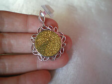 Gold Drusy Agate pendant, 12.7 carats, in 5.68 grams of 925 Sterling Silver