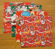 """Children's Christmas Wrapping Paper Gift Wrap 4 Sheets Santa Elves 36"""" x 36"""" ea."""