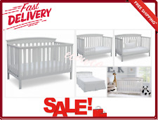 Delta Convertible 4-In-1 Crib White Fixed Side Crisp Curved Headboard New