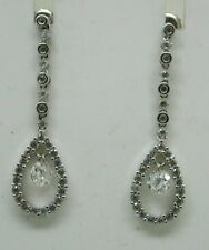 Beautiful Pair Of 9 Carat Gold And White Stone Dangle Dropper Earrings