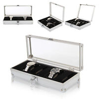 6/10/12 Aluminium Leather Watch Display Storage Box Case Tray Watch Collector