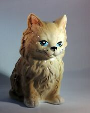 """Inarco Sitting Long Hair Cat Figurine 6.75"""" tall Ceramic Made in Japan"""