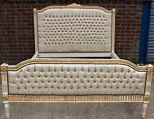 ANTIQUE FRENCH STYLE BED FRAME | OFF WHITE & GOLD  | HANDMADE BED C314