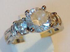bague rétro rhodié argent fiançailles oxyde diamant solitaire brille taille 57
