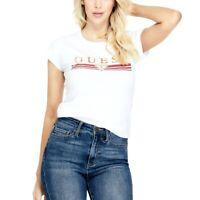 Guess Womens White Metallic Logo T Shirt - Size Medium