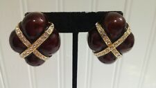 Berebi Limited Edition Brown Enameled GT Clear Crystal Square Clip-On Earrings