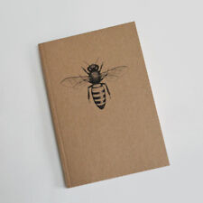 Honeybee A6 notebook. Art illustration. Natural recycled Honey Bee gift