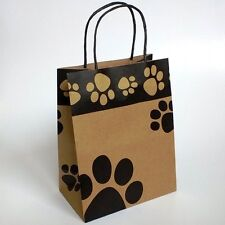 Paw print premium kraft paper, twisted handled, gusseted puppy dog gift bags