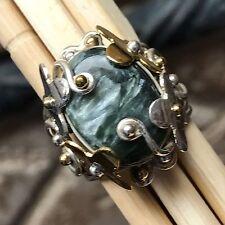 Genuine Russian Seraphinite 925 Solid Sterling Silver Victorian Ring sz 7.75