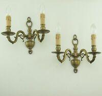 Paar alte XL Wandlampe Messing Wandleuchte Barock Stil Vintage Brass Wall Sconce