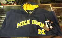 New G-III Sports XXL Michigan Wolverines Navy Full Zip Hoodie/SweatShirt/Jacket