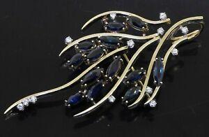 Designer signed heavy 14K YG 4.65CT diamond & sapphire jumbo cluster brooch
