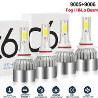 4X Combo 9005 9006 LED HID Headlight Kit Total 476000LM HB3 Hi-Low Beam 6000K
