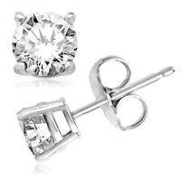 Sterling Silver Cubic Zirconia Round Shaped Stud Earrings 6mm Silver Round CZ