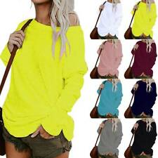 Womens Long Sleeve One Shoulder Blouse Tops Plain Loose Tunic Pullover Shirts UK