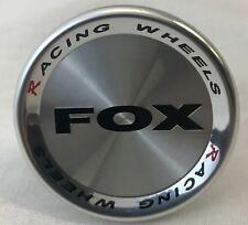 4 X FOX RACING R1 R4 ALLOY WHEEL CENTRE CAPS PLUS BADGES (SILVER) (52MM)