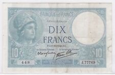 BILLET 10 FRANCS MINERVE PJ 17 10 1940 PJ 448 J 77769