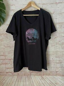❤️ Women's LIFE IS GOOD Size XXXL Horse & Moon T-Shirt Shirt Crusher Tee 3XL