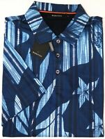NEW $129 Bugatchi Short Sleeve Polo Shirt Mens Classic Blue Floral Cotton NWT