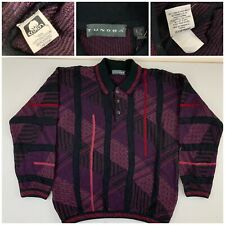 Tundra Mens Sweater Pullover Large 100% Mercerized Cotton 3 Button Multicolor