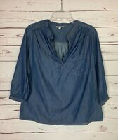 Pleione Anthropologie Women's M Medium Blue Denim 3/4 Sleeves Cute Top Blouse