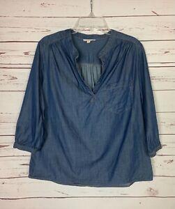 Pleione Anthropologie Women's M Medium Blue Denim 3/4 Sleeves Cute Top Blouse