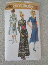Vtg Sewing Pattern Simplicity 9265 - Dress 2Lengths/2Necklines Boho Yr.1971 B36