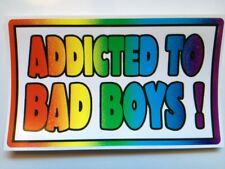 ADDICTED TO BAD BOYS                       GAY Rainbow BUMPER STICKER 3X5 inches