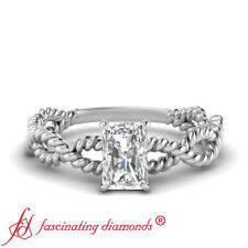 Platinum Radiant Cut Diamond Solitaire Braided Engagement Ring For Women 0.45 Ct