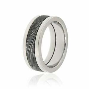 Damascus Steel Ring w/ Acid Etching and Renaissance Performance Steel