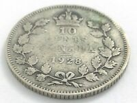 1928 Canada 10 Ten Cent Silver Dime Canadian Circulated George V Coin L533