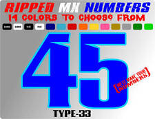 RIPPED 2 COLOR MX NUMBER PLATE RACING DECALS STICKERS MOTORCYCLE CAR DIRTBIKE SX