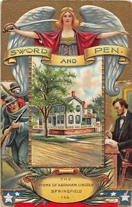 G79/ Patriotic Postcard c1910 President Abraham Lincoln Civil War Sword Pen 40