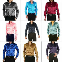 New Mens Wedding Shirt Silk-Satin Men's Shirt Long Sleeve Custom Made 18 Colors