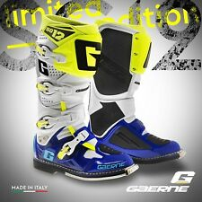 GAERNE SG12 MX Motocross Enduro Stiefel Gr. 47 weiss-blau-fluogelb HVA Husqvarna